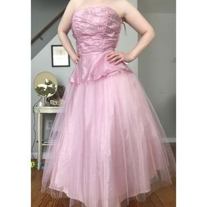 1950's pink organza dress with boned bodice